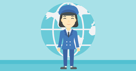 asian business: An asian business woman standing on a background of Earth globe. Business woman taking part in global business. Global business concept. Vector flat design illustration. Horizontal layout.