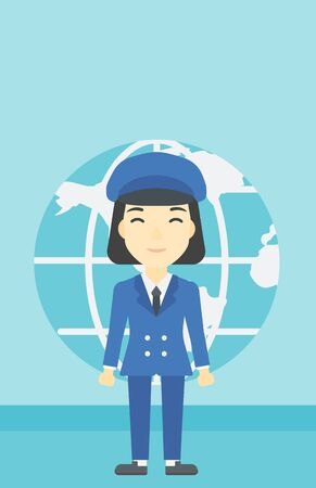 asian business: An asian business woman standing on a background of Earth globe. Business woman taking part in global business. Global business concept. Vector flat design illustration. Vertical layout.