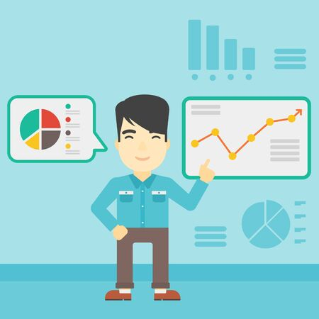 asian businessman: An asian businessman pointing at charts on a board during business presentation. Man giving a business presentation. Business presentation in progress. Vector flat design illustration. Square layout. Illustration