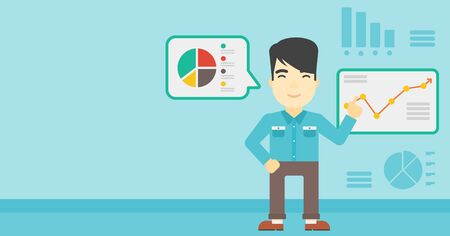 asian businessman: Asian businessman pointing at charts on a board during business presentation. Man giving a business presentation. Business presentation in progress. Vector flat design illustration. Horizontal layout Illustration