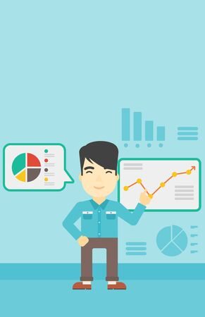 Asian businessman pointing at charts on a board during business presentation. Man giving a business presentation. Business presentation in progress. Vector flat design illustration. Vertical layout.