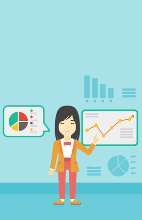 asian business: Asian business woman pointing at charts on a board during business presentation. Woman giving business presentation. Business presentation in progress. Vector flat design illustration. Vertical layout Illustration