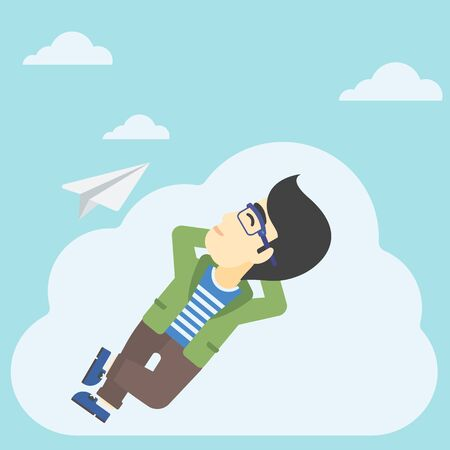 flying paper: An asian businessman lying on a cloud and looking at flying paper plane. Businessman relaxing on a cloud. Vector flat design illustration. Square layout. Illustration