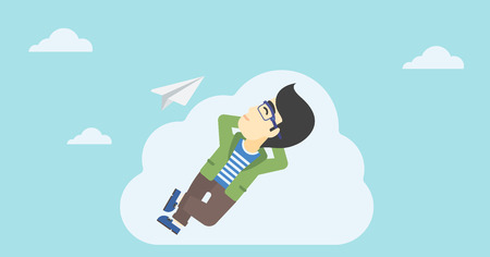 flying paper: An asian businessman lying on a cloud and looking at flying paper plane. Businessman relaxing on a cloud. Vector flat design illustration. Horizontal layout. Illustration