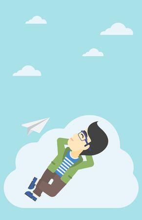 flying paper: An asian businessman lying on a cloud and looking at flying paper plane. Businessman relaxing on a cloud. Vector flat design illustration. Vertical layout.