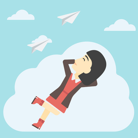 flying paper: An asian business woman lying on a cloud and looking at flying paper plane. Business woman relaxing on a cloud. Vector flat design illustration. Square layout. Illustration