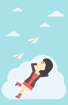woman floating: An asian business woman lying on a cloud and looking at flying paper plane. Business woman relaxing on a cloud. Vector flat design illustration. Vertical layout.