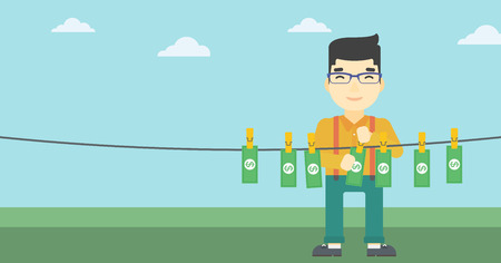 An asian young businessman drying banknotes on the clothesline on the background of blue sky. Man loundering money. Vector flat design illustration. Horizontal layout. Illustration