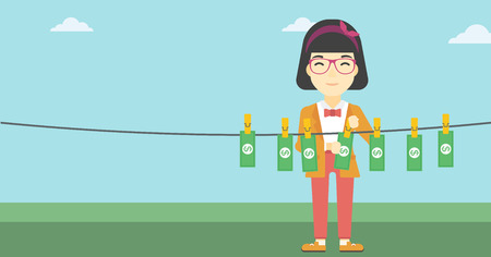 counterfeit: An asian young business woman drying banknotes on the clothesline on the background of blue sky. Woman loundering money. Vector flat design illustration. Horizontal layout. Illustration