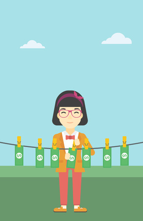 dinero falso: An asian young business woman drying banknotes on the clothesline on the background of blue sky. Woman loundering money. Vector flat design illustration. Vertical layout.