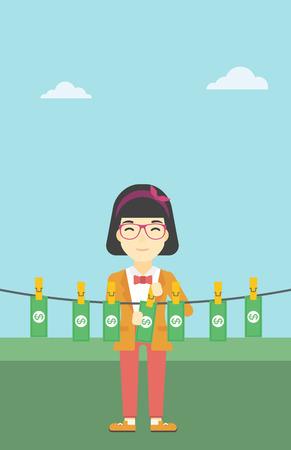 dinero falso: Una mujer de negocios joven asi�tico secar los billetes en el tendedero en el fondo de cielo azul. Mujer loundering dinero. Vector de dise�o plano ilustraci�n. disposici�n vertical. Vectores