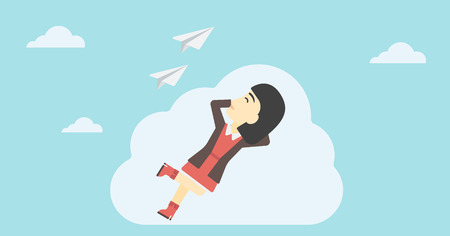 An asian business woman lying on a cloud and looking at flying paper plane. Business woman relaxing on a cloud. Vector flat design illustration. Horizontal layout. Vettoriali