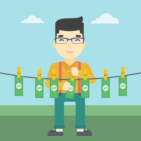 An asian young businessman drying banknotes on the clothesline on the background of blue sky. Man loundering money. Vector flat design illustration. Square layout. Illustration