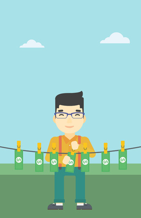 laundering: An asian young businessman drying banknotes on the clothesline on the background of blue sky. Man loundering money. Vector flat design illustration. Vertical layout.