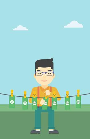Eine asiatische junge Geschäftsmann Banknoten auf der Wäscheleine auf dem Hintergrund des blauen Himmels zu trocknen. Man loundering Geld. Vector flache Design-Illustration. Vertikal-Layout.