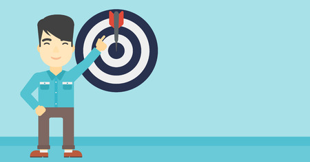 goal achievement: An asian young businessman pointing at arrow in a target board. Concept of achievement of business goal. Vector flat design illustration. Horizontal layout.