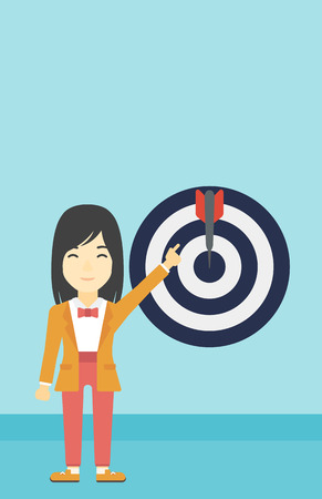 full length woman: An asian young business woman pointing at arrow in a target board. Concept of achievement of business goal. Vector flat design illustration. Vertical layout. Illustration