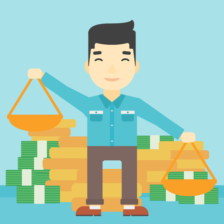 outweigh: An asian young businessman holding scales in hands on a blue background with stacks of coins. Vector flat design illustration. Square layout. Illustration