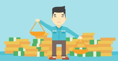 De schalen van een Aziatische jonge zakenmanholding in handen op een blauwe achtergrond met stapels muntstukken. Vector platte ontwerp illustratie. Horizontale lay-out.