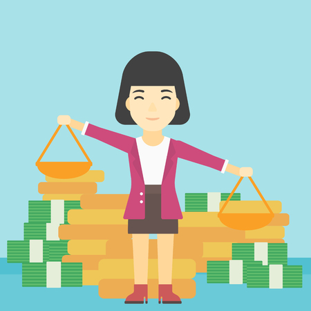 outweigh: An asian young business woman holding scales in hands on a blue background with stacks of coins. Vector flat design illustration. Square layout.