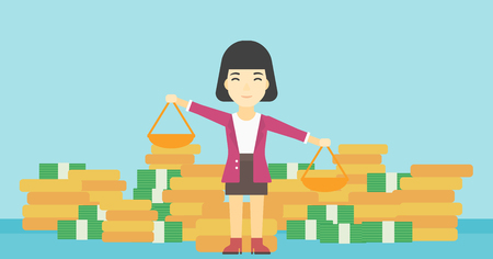outweigh: An asian young business woman holding scales in hands on a blue background with stacks of coins. Vector flat design illustration. Horizontal layout.