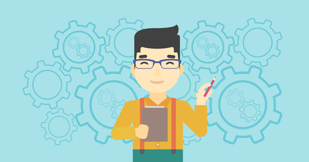 An asian young businessman with a pencil and a clipboard in hands standing on a blue background with cogwheels. Vector flat design illustration. Horizontal layout.