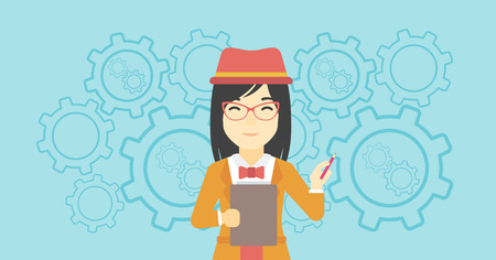 An asian young business woman with a pencil and a clipboard in hands standing on a blue background with cogwheels. Vector flat design illustration. Horizontal layout.