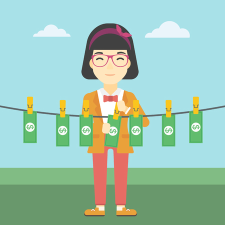 counterfeit: An asian young business woman drying banknotes on the clothesline on the background of blue sky. Woman loundering money. Vector flat design illustration. Square layout. Illustration