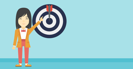 young business woman: An asian young business woman pointing at arrow in a target board. Concept of achievement of business goal. Vector flat design illustration. Horizontal layout. Illustration