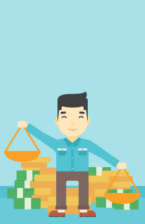 outweigh: An asian young businessman holding scales in hands on a blue background with stacks of coins. Vector flat design illustration. Vertical layout.