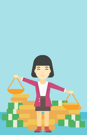 exceed: An asian young business woman holding scales in hands on a blue background with stacks of coins. Vector flat design illustration. Vertical layout.