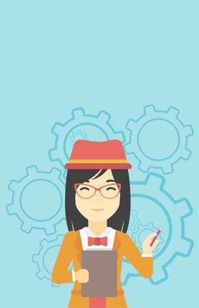 young business woman: An asian young business woman with a pencil and a clipboard in hands standing on a blue background with cogwheels. Vector flat design illustration. Vertical layout.