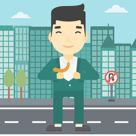 undress: An asian young businessman opening his jacket like superhero on the background of modern city. Businessman superhero. Vector flat design illustration. Square layout. Illustration