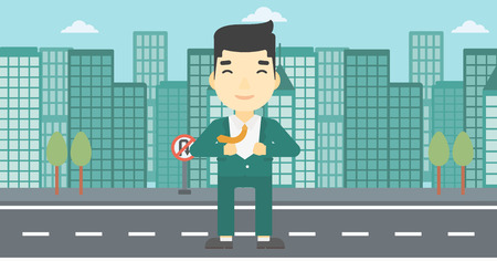 An asian young businessman opening his jacket like superhero on the background of modern city. Businessman superhero. Vector flat design illustration. Horizontal layout.