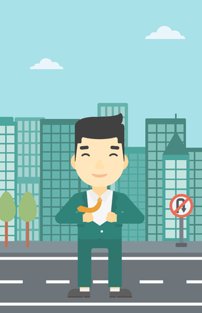 undress: An asian young businessman opening his jacket like superhero on the background of modern city. Businessman superhero. Vector flat design illustration. Vertical layout.