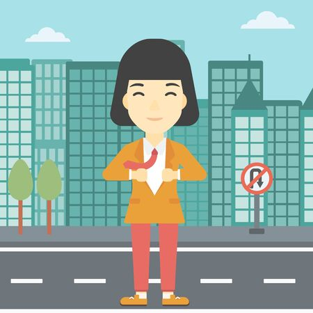 undress: An asian young business woman opening her jacket like superhero on the background of modern city. Business woman superhero. Vector flat design illustration. Square layout.
