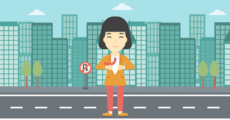 undress: An asian young business woman opening her jacket like superhero on the background of modern city. Business woman superhero. Vector flat design illustration. Horizontal layout. Illustration