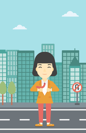 undress: An asian young business woman opening her jacket like superhero on the background of modern city. Business woman superhero. Vector flat design illustration. Vertical layout.