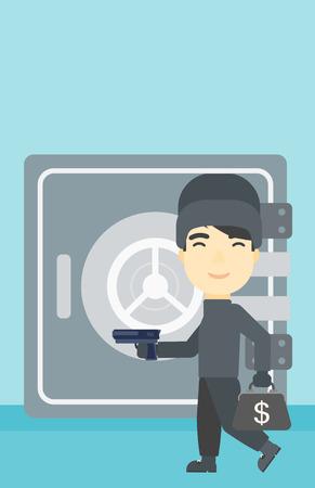 hand gun: An asian  burglar in mask near the big safe door. Burglar holding hand gun and a bag with dollar sign. Thief stealing money. Vector flat design illustration. Vertical layout.