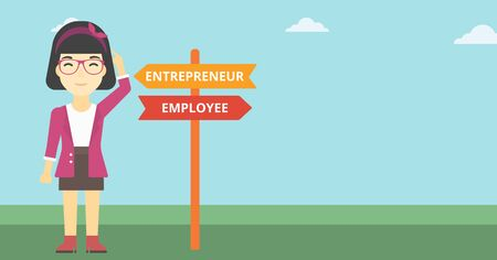 pathways: An asian young woman standing at road sign with two career pathways. Woman choosing career pathway. Woman making a decision of her career pathway. Vector flat design illustration. Horizontal layout.