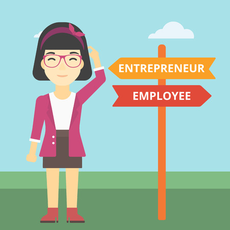 pathways: An asian young woman standing at road sign with two career pathways. Woman choosing career pathway. Woman making a decision of her career pathway. Vector flat design illustration. Square layout.