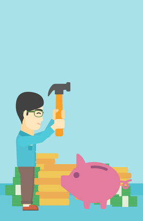 desperation: An asian young businessman breaking piggy bank on a blue background with stacks of coins. Concept of business bankruptcy. Vector flat design illustration. Vertical layout.