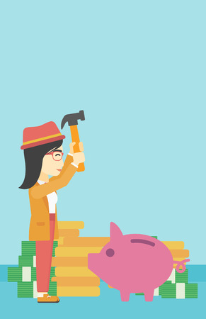 asian coins: An asian young business woman breaking piggy bank on a blue background with stacks of coins. Concept of business bankruptcy. Vector flat design illustration. Vertical layout.