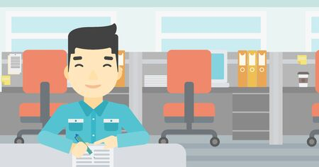 signing papers: An asian young businessman signing business documents in office. Man is about to sign a business agrement. Confirmation of business transaction. Vector flat design illustration. Horizontal layout. Illustration