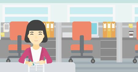 An asian young woman signing business documents in office. Woman is about to sign a business agrement. Confirmation of business transaction. Vector flat design illustration. Horizontal layout.