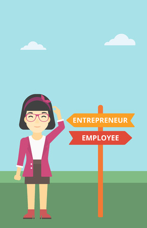 pathways: An asian young woman standing at road sign with two career pathways. Woman choosing career pathway. Woman making a decision of her career pathway. Vector flat design illustration. Vertical layout.