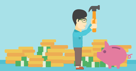 desperation: An asian young businessman breaking piggy bank on a blue background with stacks of coins. Concept of business bankruptcy. Vector flat design illustration. Horizontal layout.