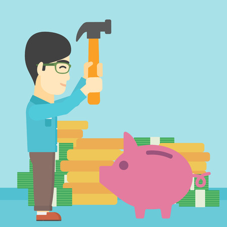 desperation: An asian young businessman breaking piggy bank on a blue background with stacks of coins. Concept of business bankruptcy. Vector flat design illustration. Square layout.