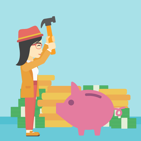 desperation: An asian young business woman breaking piggy bank on a blue background with stacks of coins. Concept of business bankruptcy. Vector flat design illustration. Square layout.