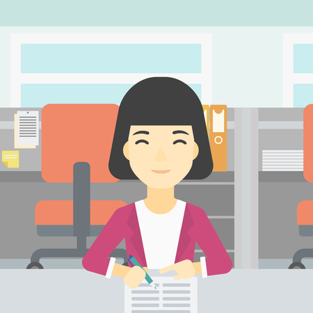 signing: An asian young woman signing business documents in office. Woman is about to sign a business agrement. Confirmation of business transaction. Vector flat design illustration. Square layout.